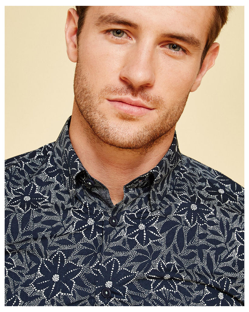 Ted Baker Floral print cotton shirt Navy