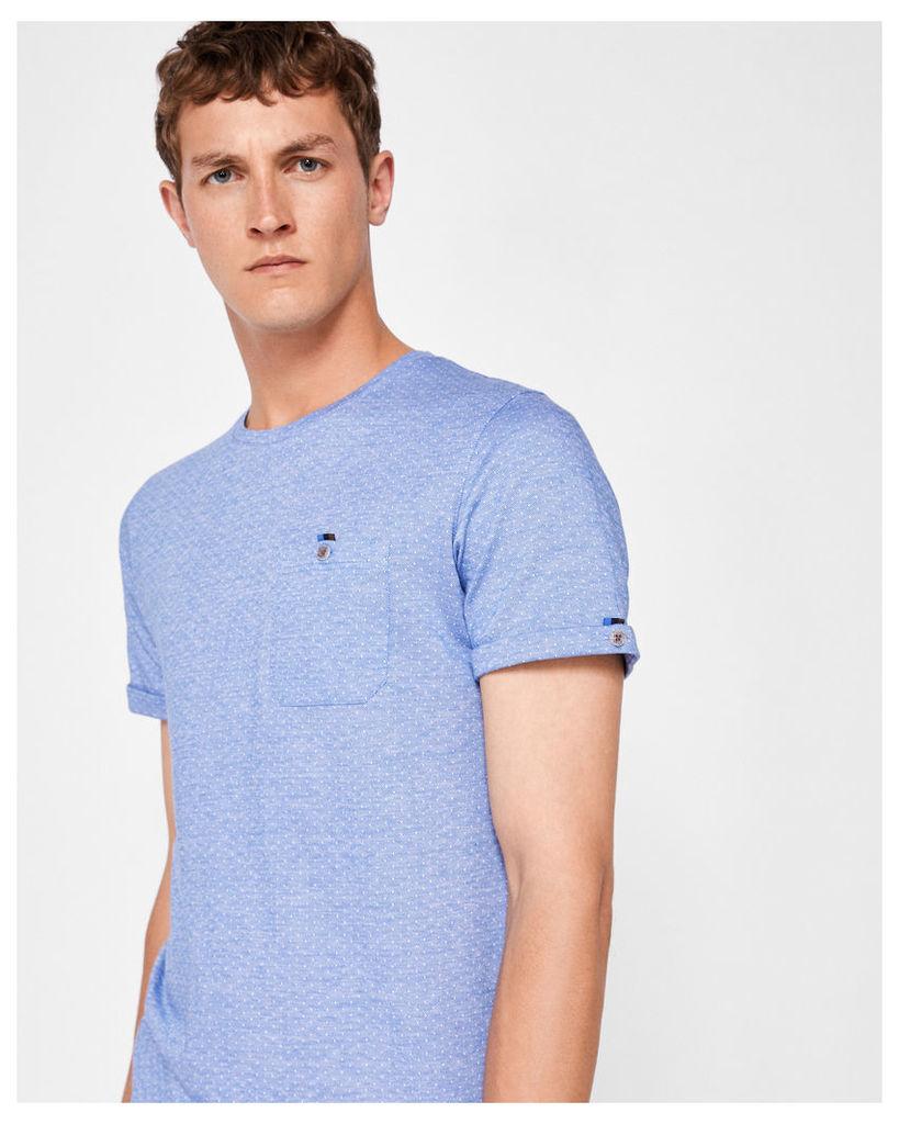 Ted Baker Jacquard crew neck cotton T-shirt Blue