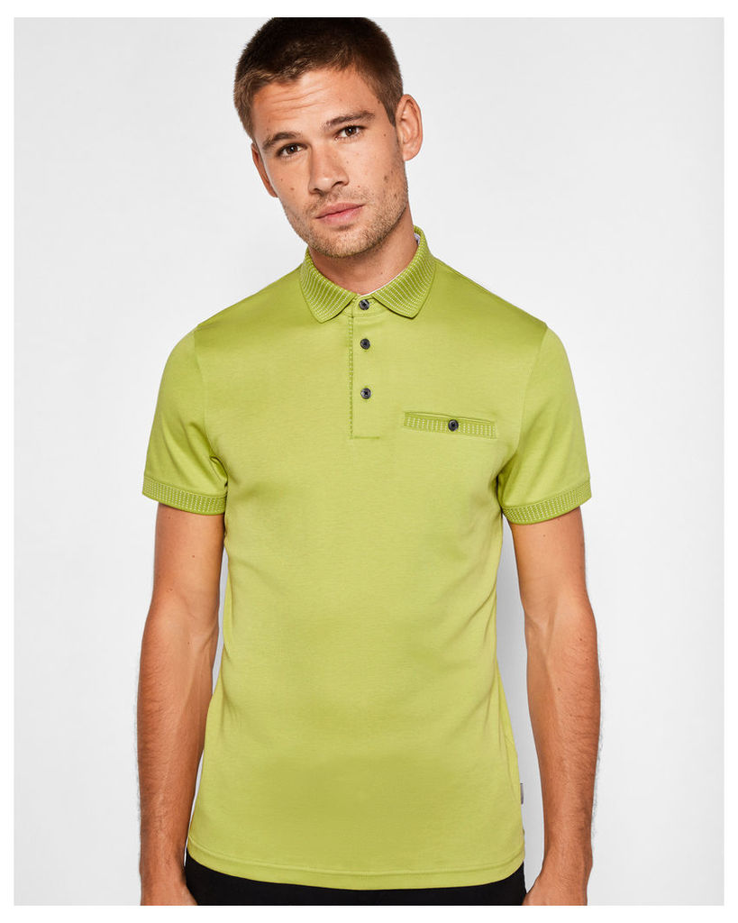 Ted Baker Flat knit collar cotton polo shirt Lime