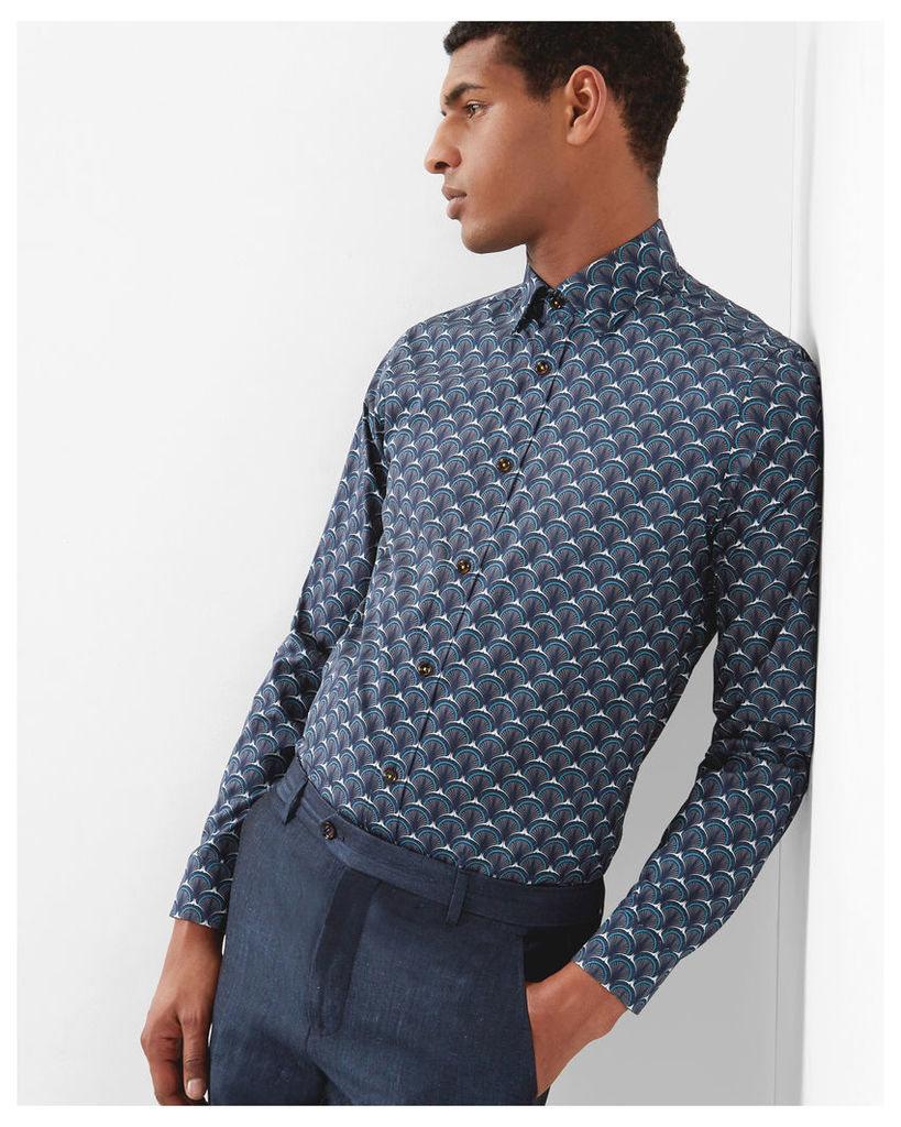 Ted Baker Shell print cotton shirt Navy