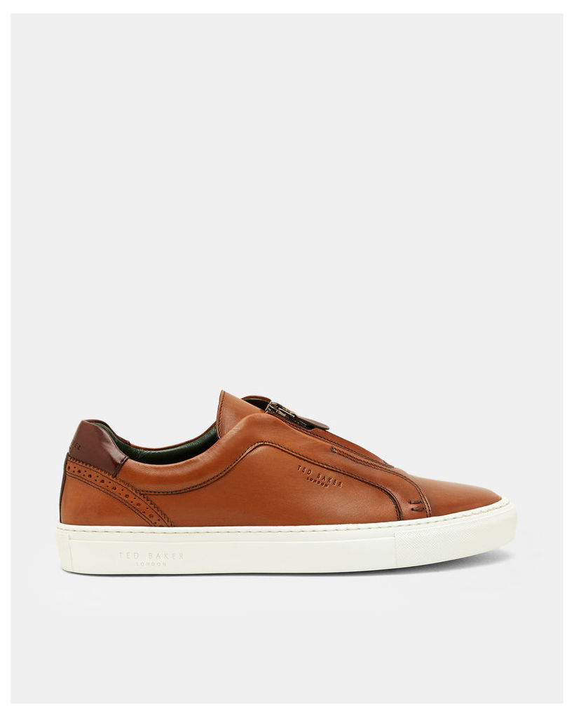 Ted Baker Leather zip detail trainers Tan
