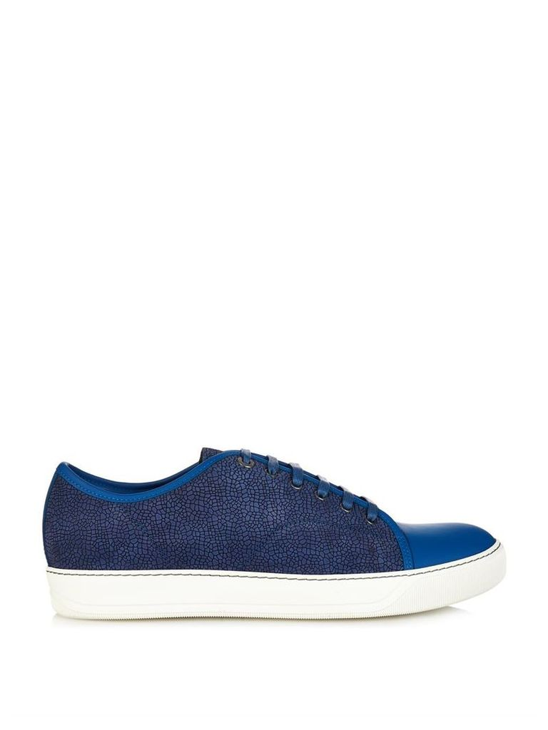 Lizard-effect leather trainers