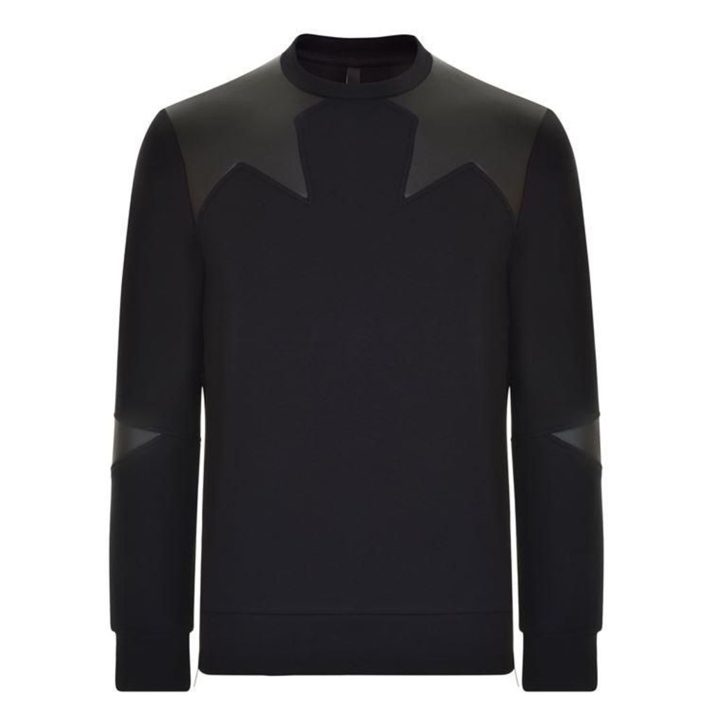 NEIL BARRETT Star Appliqued Neoprene Sweatshirt