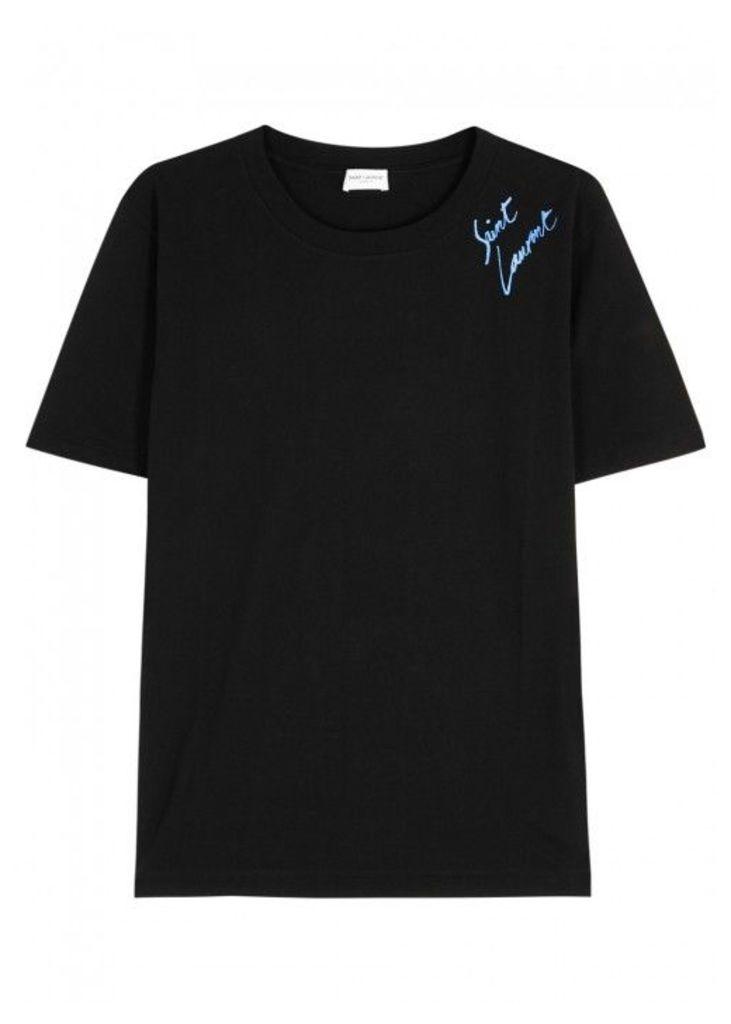 Saint Laurent Black Metallic-logo Cotton T-shirt - Size L