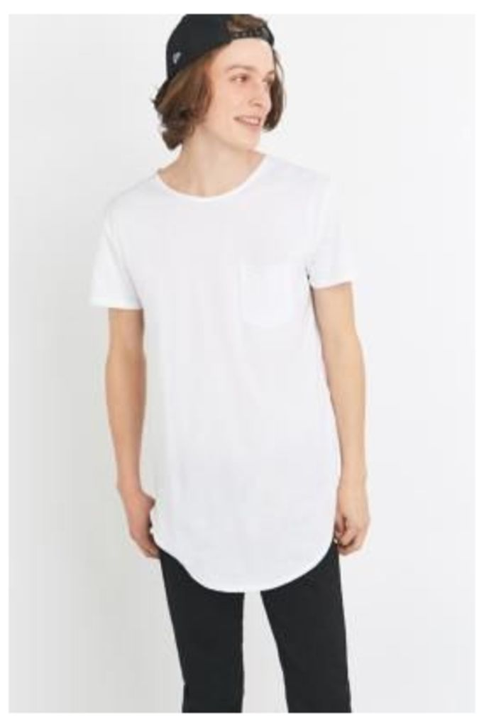 White Curved Hem T-shirt, WHITE