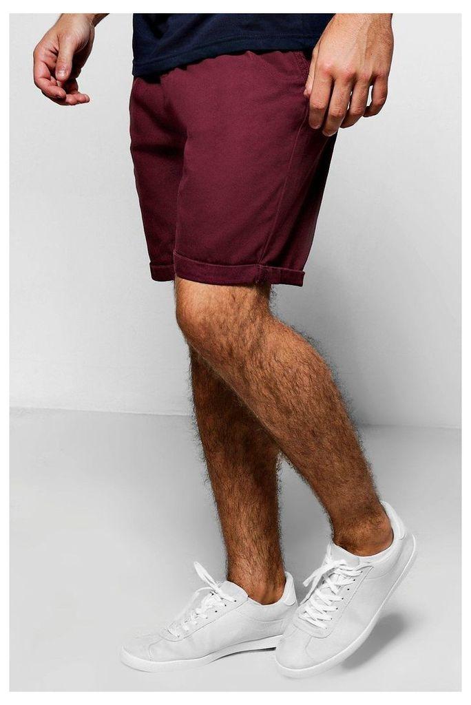 Plain Chino Shorts - burgundy