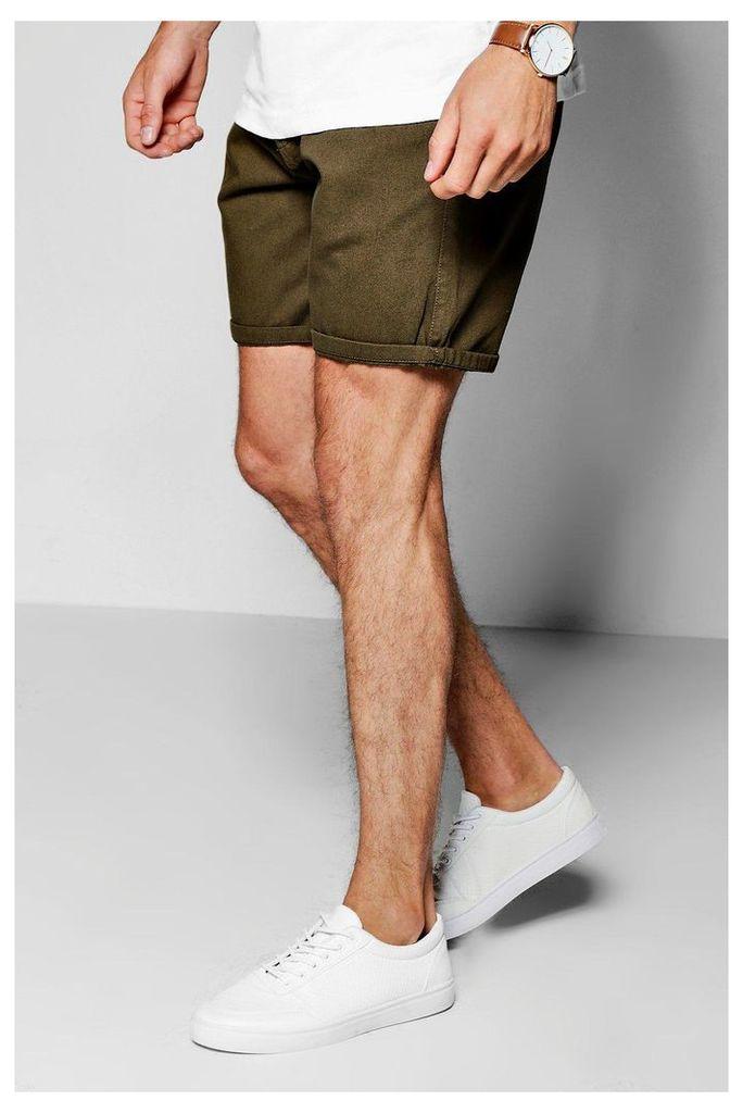 Mid Length Chino Shorts - khaki