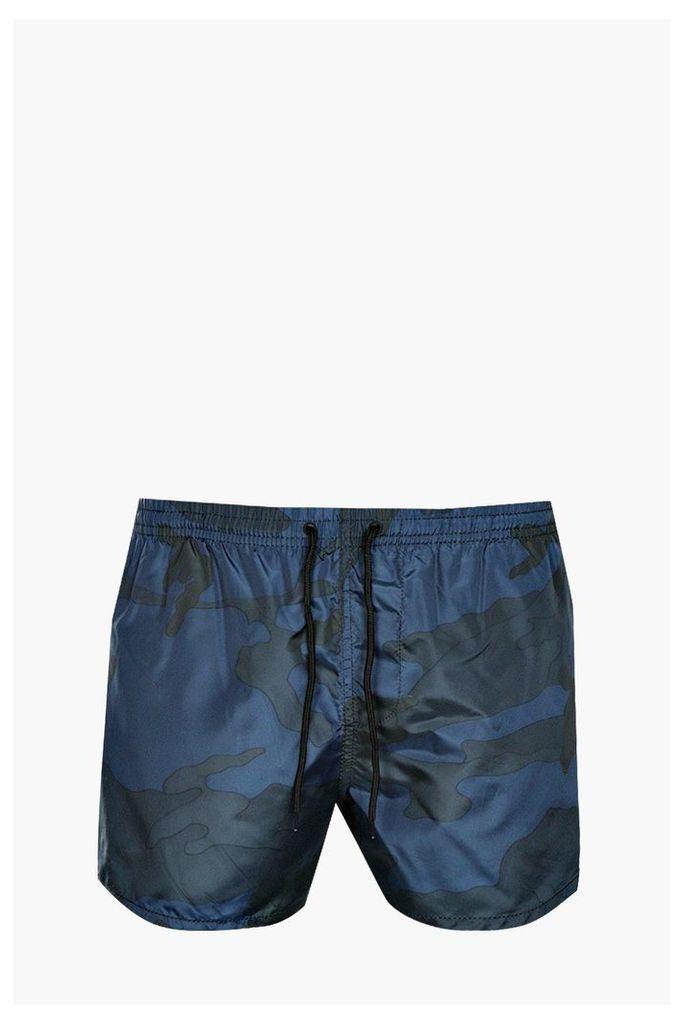 Camo Print Swim Shorts - navy