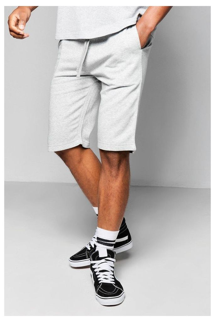 Ball Jersey Shorts With Contrast Waist Band - grey