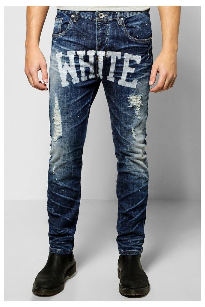 Skinny Slogan Jeans - blue