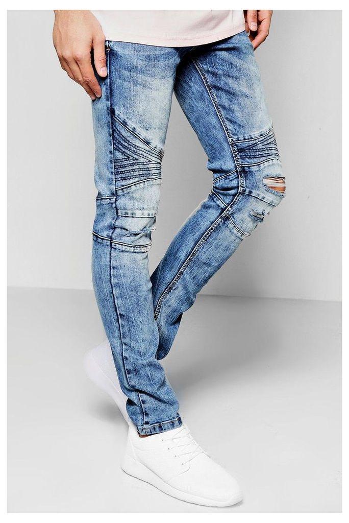 Wash Denim Biker Jeans Skinny Fit Ripped Knees - blue