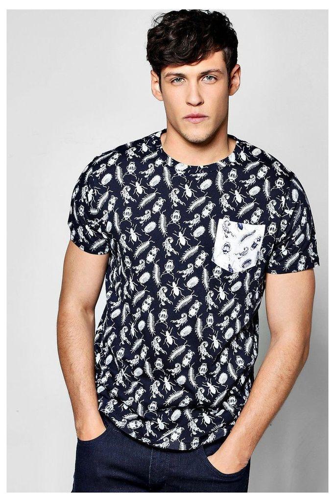 Over Beetle Print T Shirt - navy