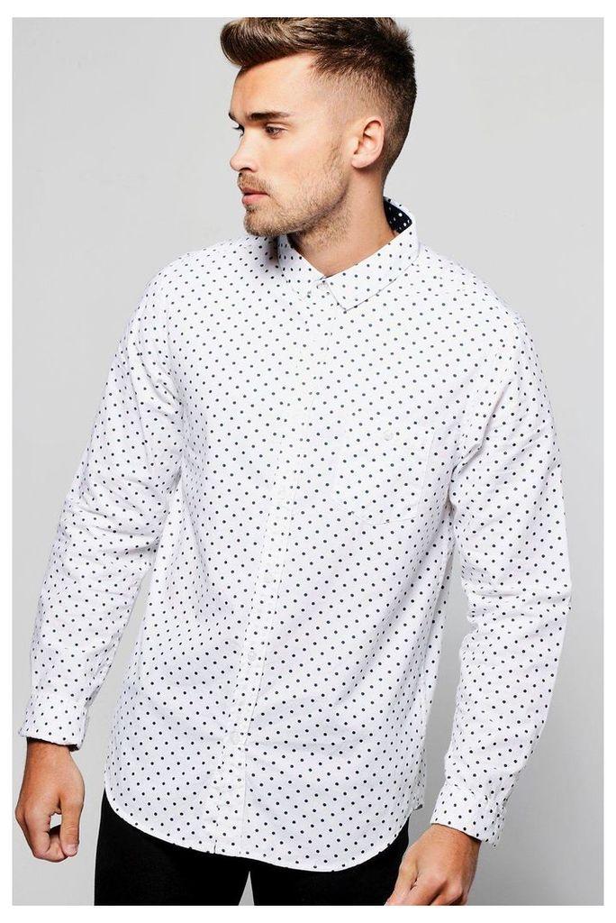 Long Sleeve Polka Dot Print Shirt - white
