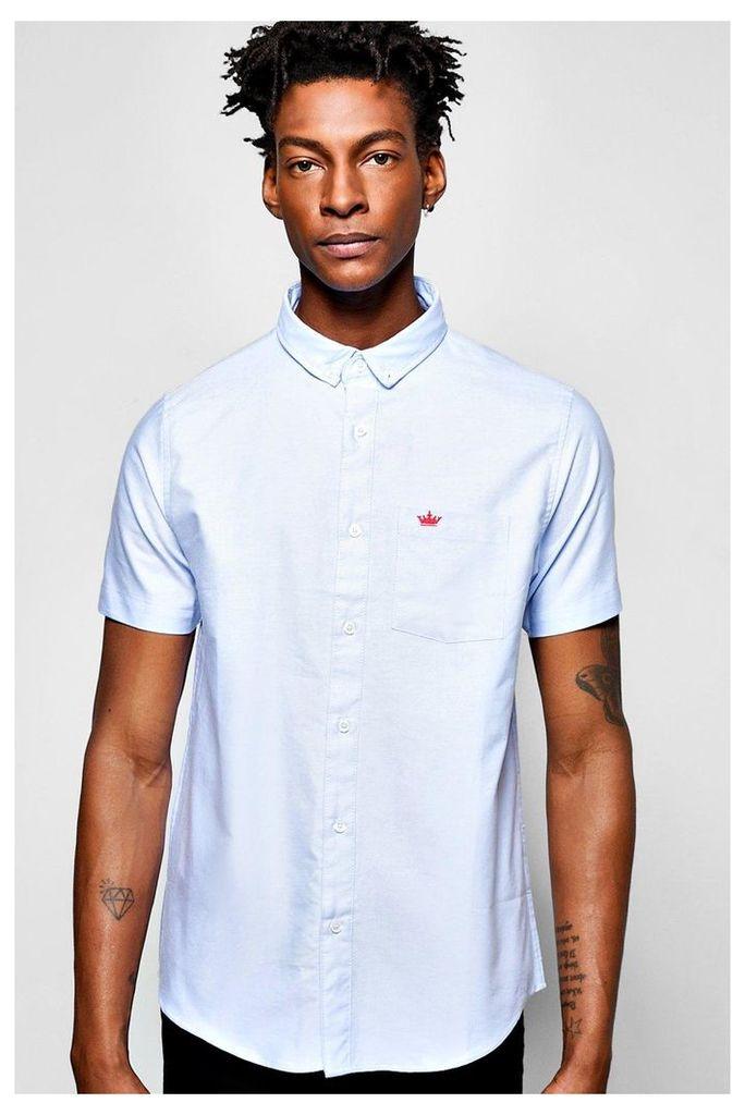 Sleeve Oxford Shirt - blue