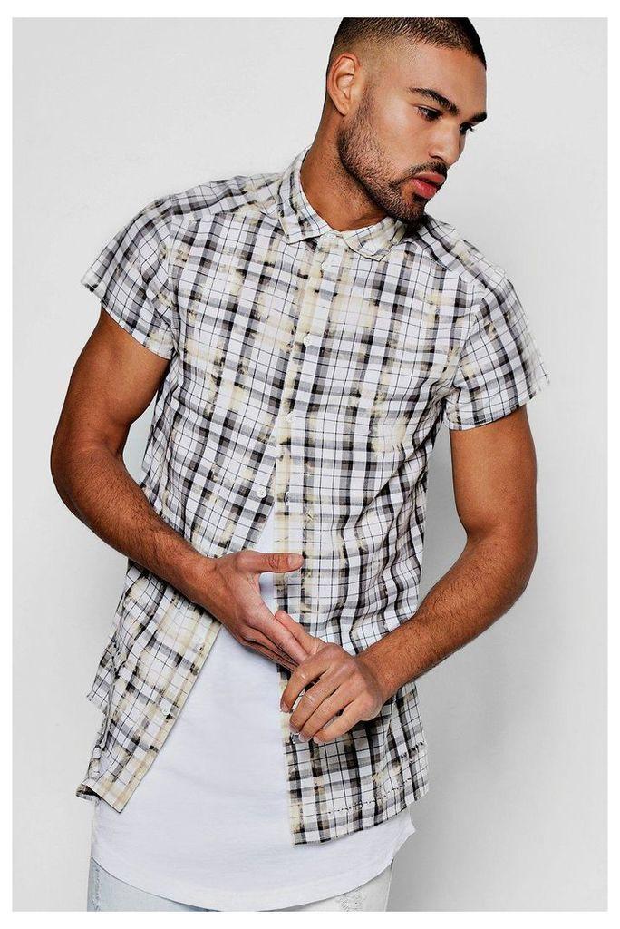Sleeve Bleach Splatter Shirt - grey
