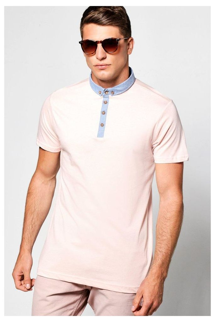 Button Down Collar Jersey Polo - pink