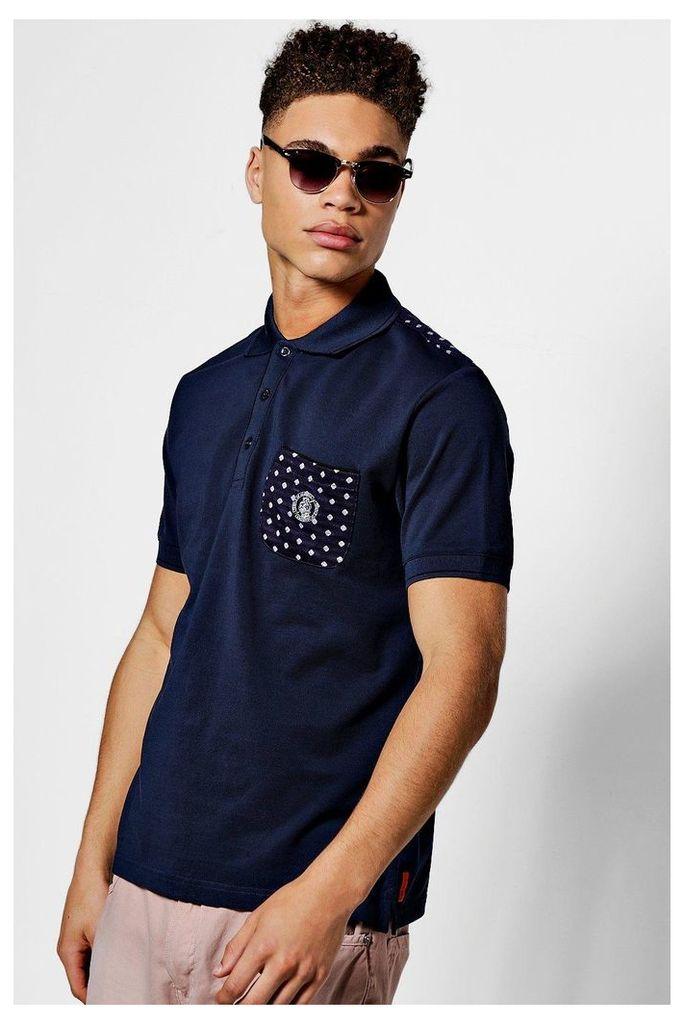 Print Cotton Polo - navy
