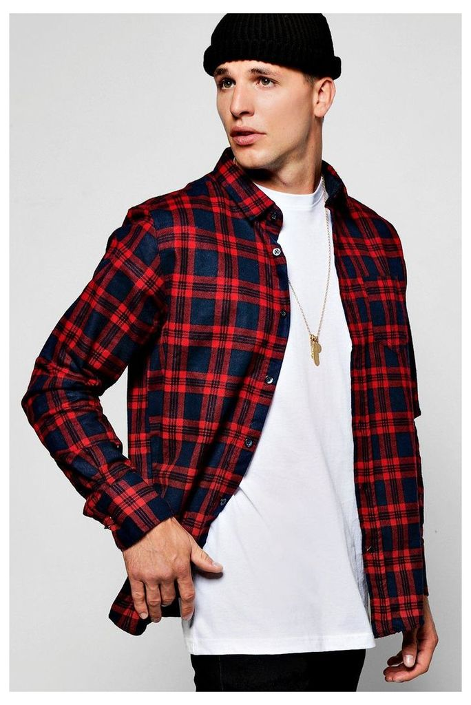 Long Sleeve Check Shirt - red