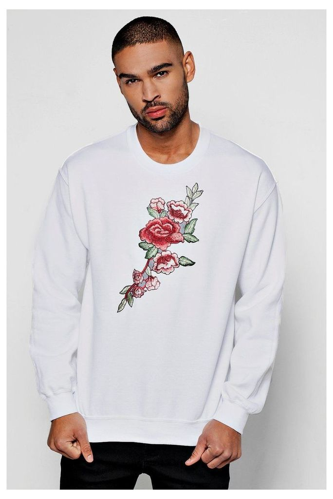 Embroidered Sweater - white