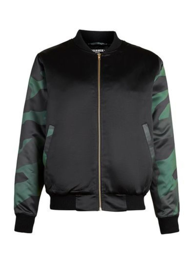 Mens MARBEK Black And Camouflage Print Bomber Jacket, Black