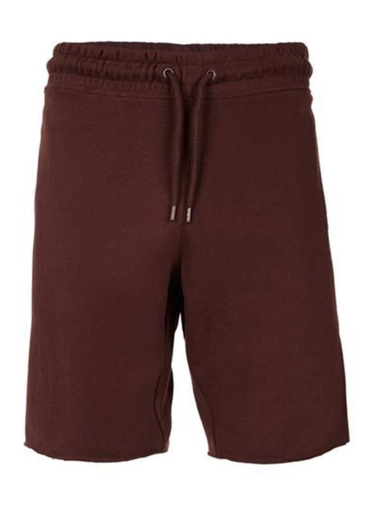 Mens Chocolate Brown Raw Jersey Shorts, Brown