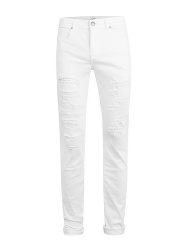 Mens SIXTH JUNE White Slim Fit Distressed Jeans, White