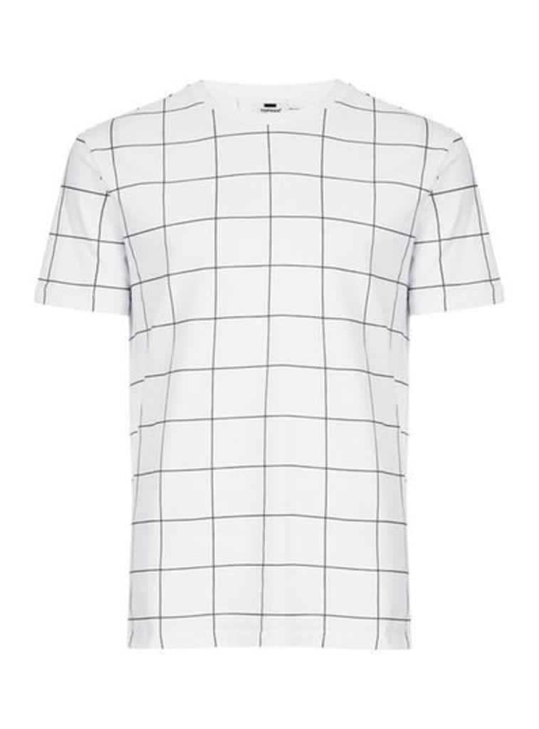 Mens White And Black Grid Check T-Shirt, White
