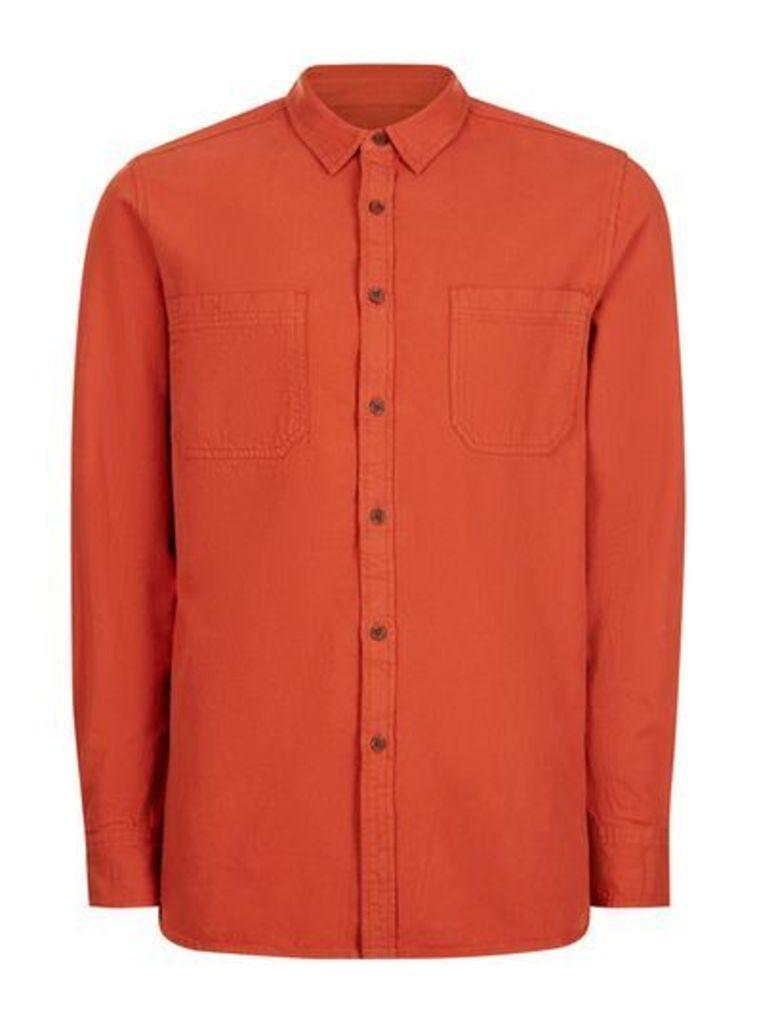 Mens Orange Washed Twill Casual Shirt, Orange