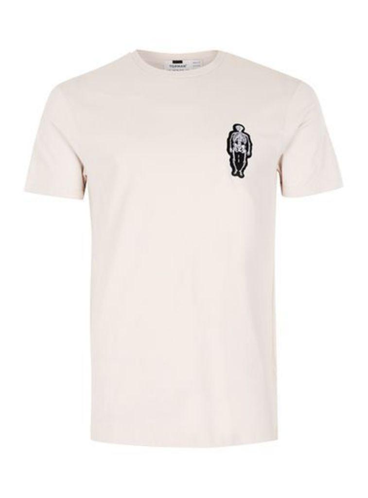 Mens Brown Stone Skeleton Badge Slim Fit T-Shirt, Brown