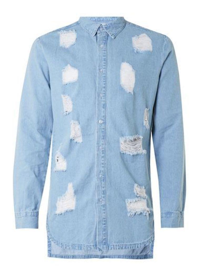 Mens SIXTH JUNE Blue Distressed Denim Shirt, Blue