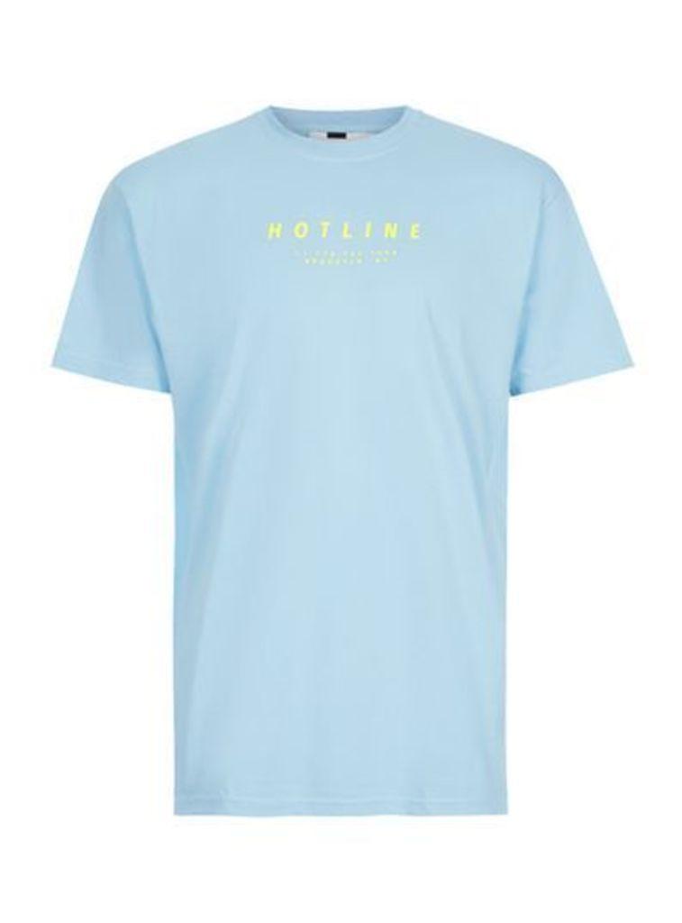 Mens Blue Hotline Print T-Shirt, Blue