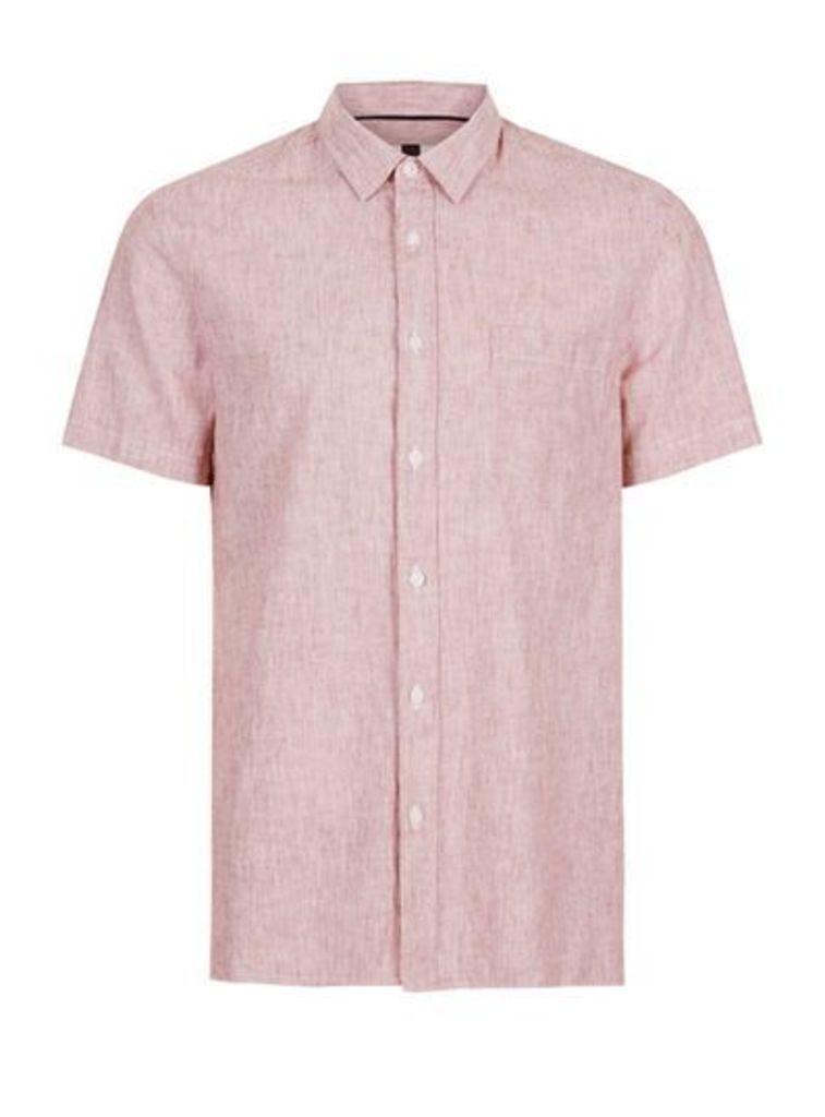 Mens Pink Burgundy Linen Casual Shirt, Pink