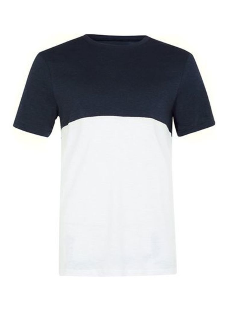 Mens Navy and White Slim Fit Panelled T-Shirt, White