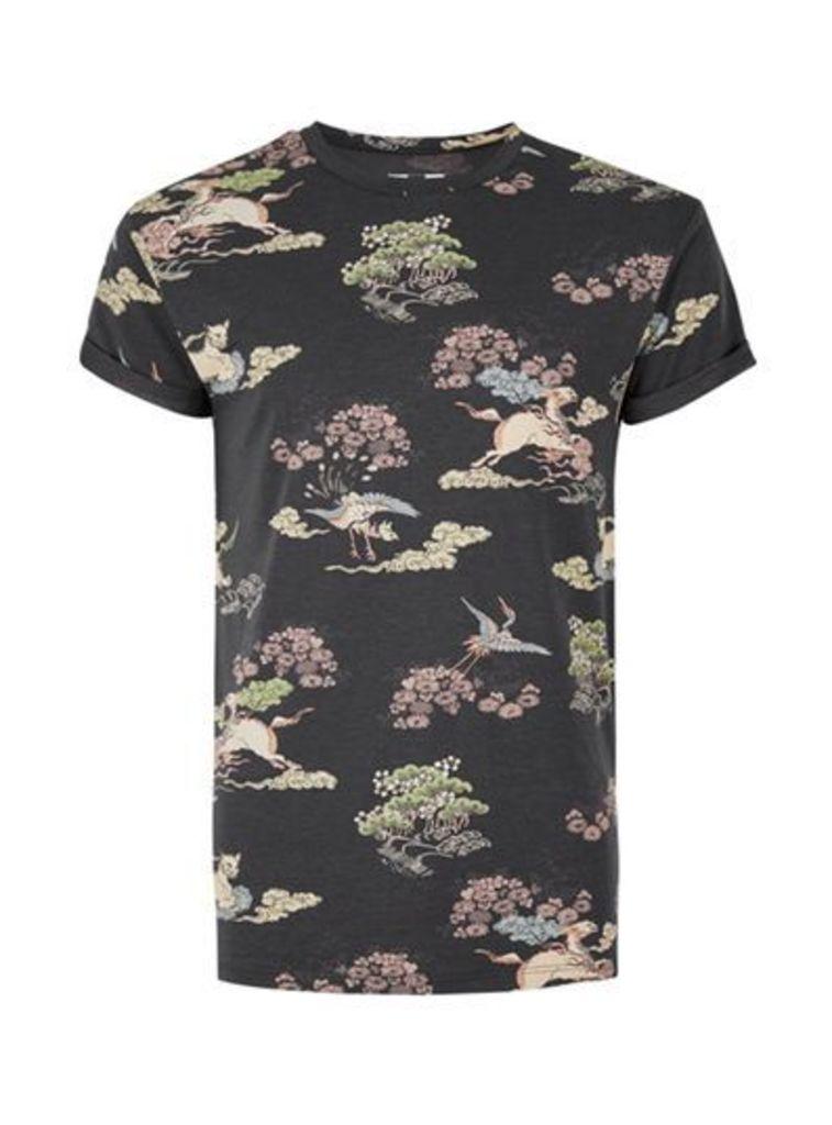 Mens Black Dragon Print Slim Fit T-Shirt, Black