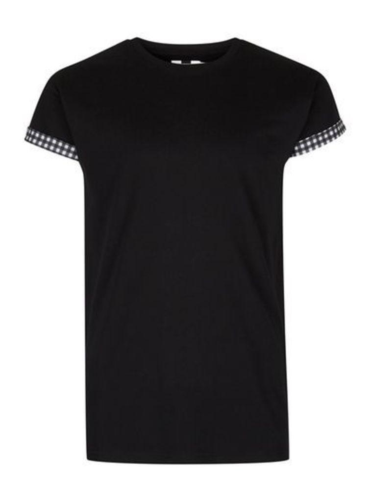 Mens Black And Gingham Roller T-Shirt, Black