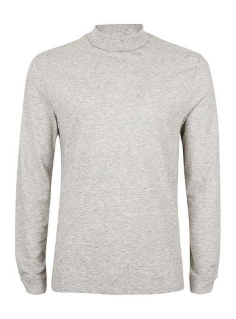 Mens Grey Marl Mini Roll Neck Long Sleeve T-Shirt, Grey