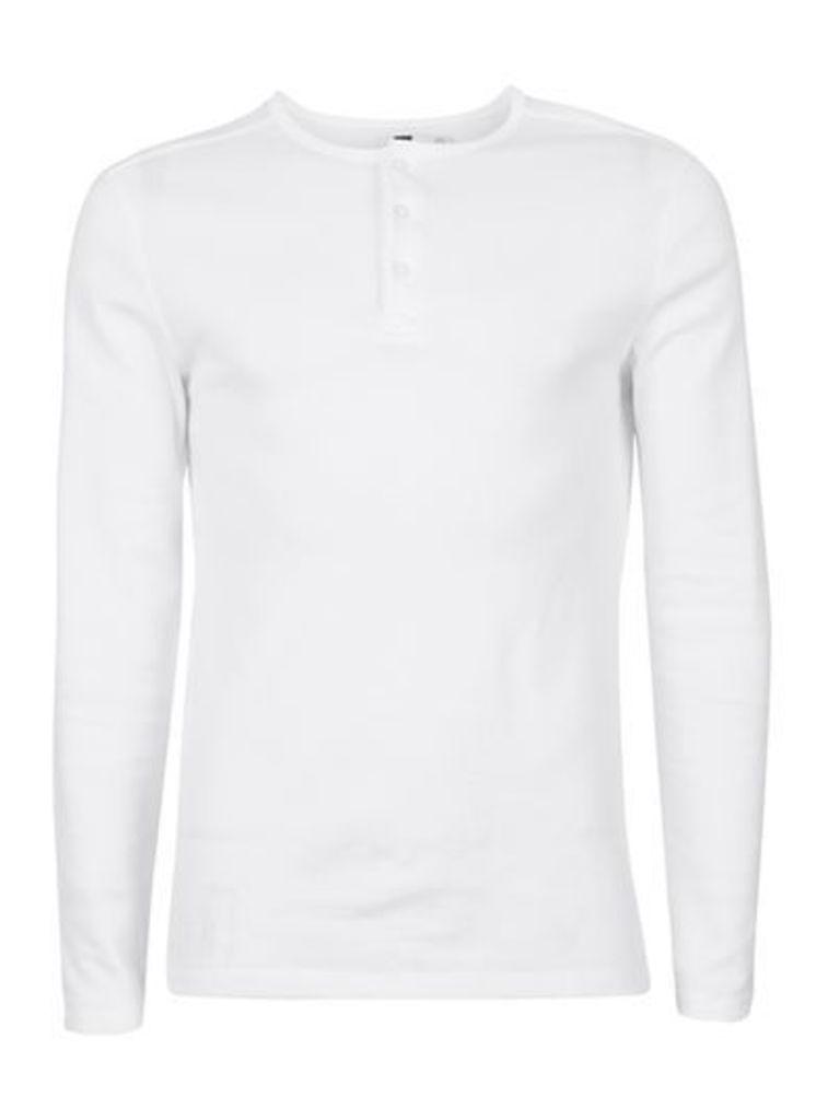 Mens White Textured Grandad Collar Long Sleeve T-Shirt, White