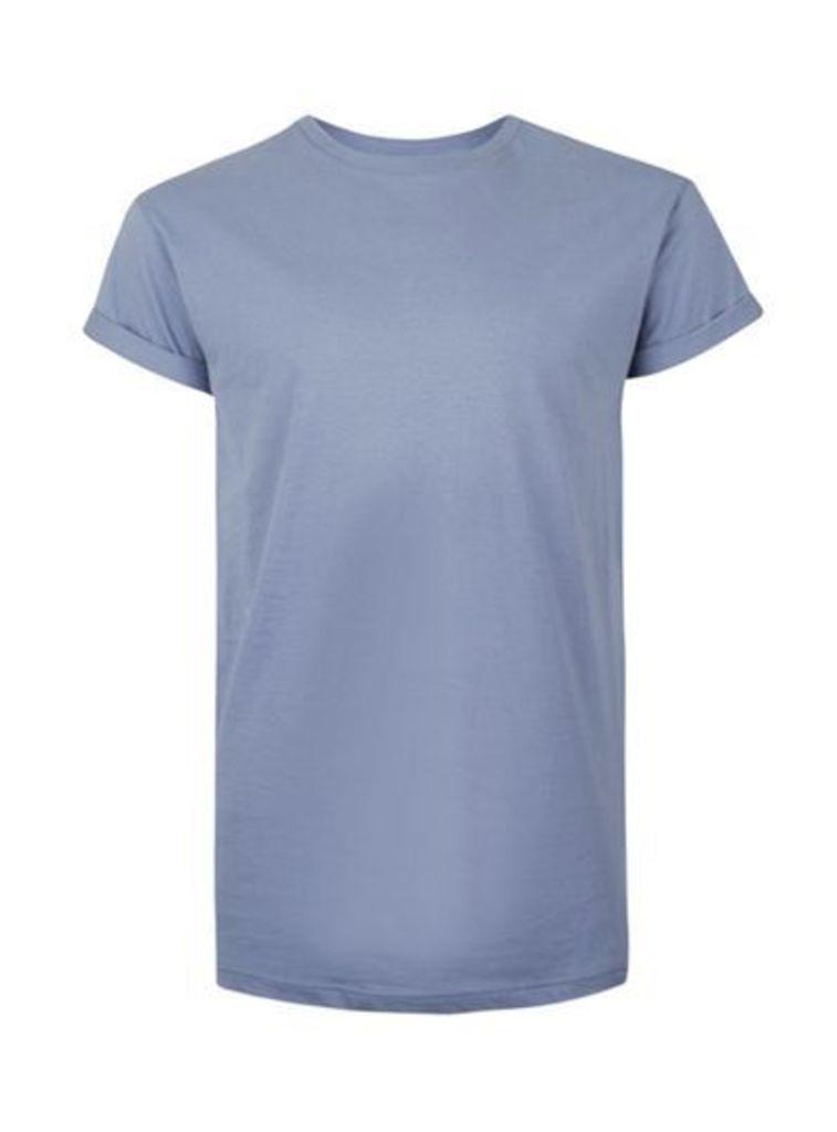 Mens Purple Muscle Fit Roller Sleeve T-Shirt, Purple