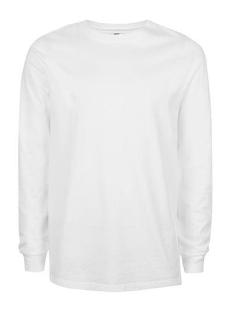 Mens White Oversized Long Sleeve T-Shirt, White