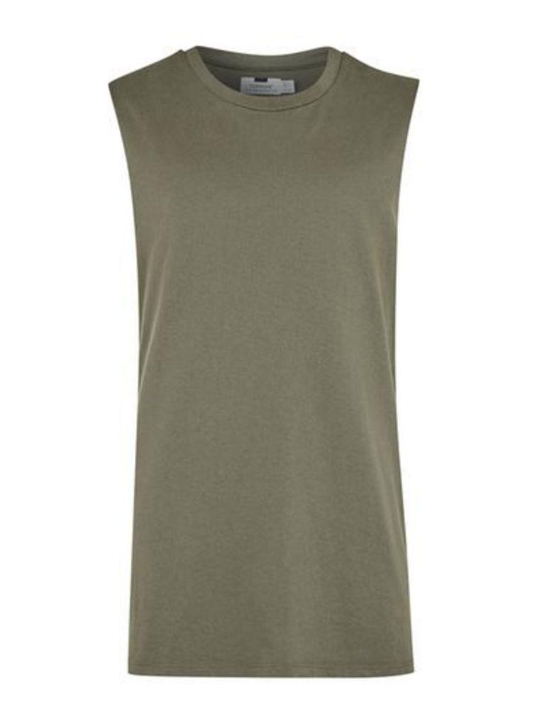 Mens Green Khaki Oversized Tank Vest, Green