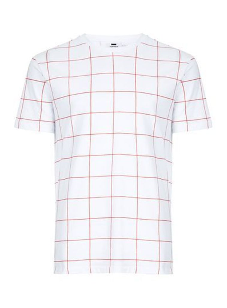 Mens White And Red Grid Check T-Shirt, White
