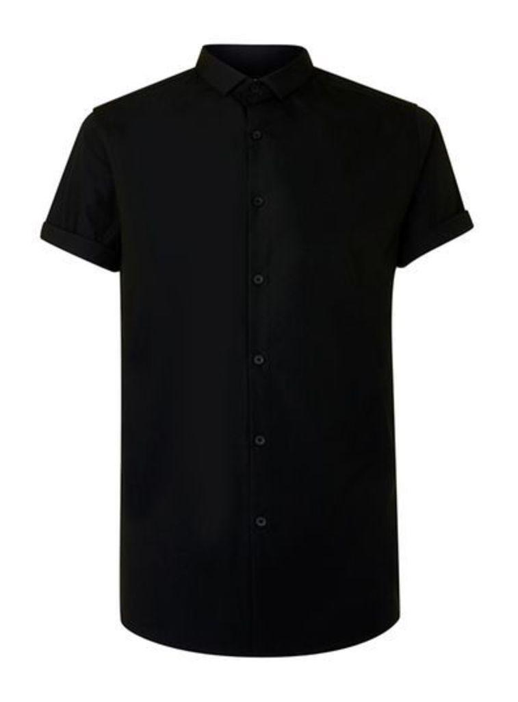 Mens Black Short Sleeve Smart Shirt, Black