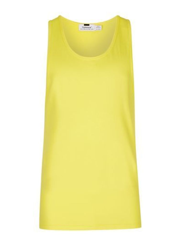 Mens Yellow Green Ultra Muscle Fit Vest, Green