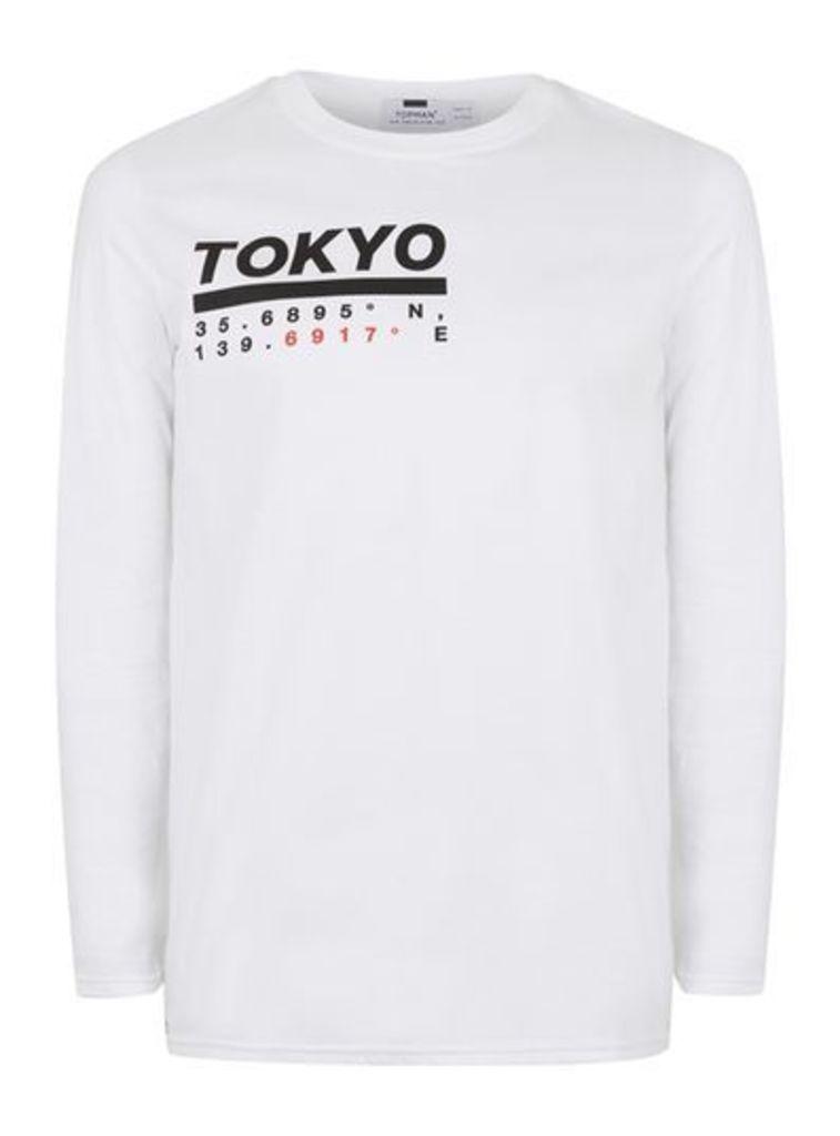 Mens White Tokyo Print Long Sleeve T-Shirt, White