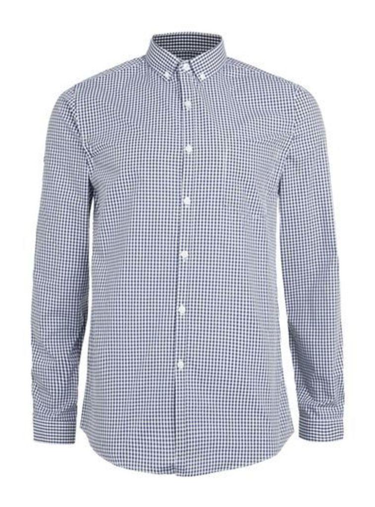 Mens Blue Navy Gingham Button Down Long Sleeve Smart Shirt, Blue