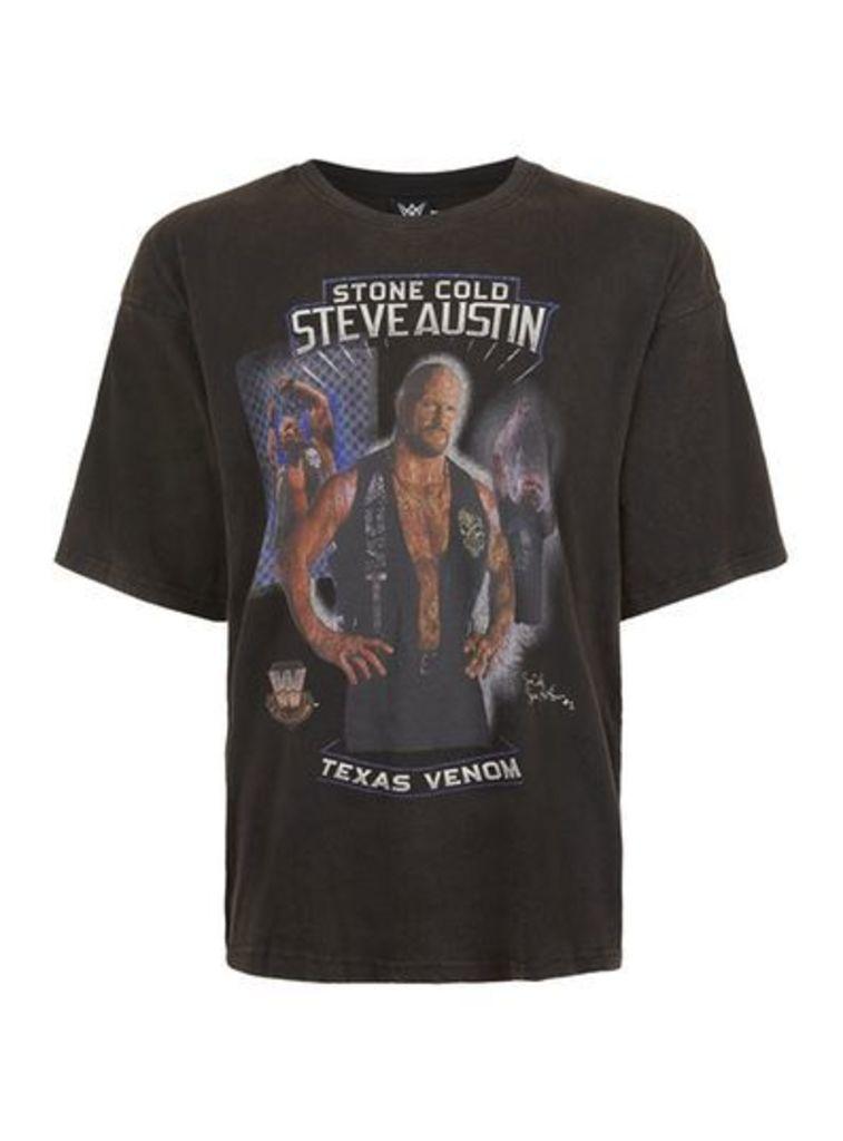 Mens Black WWE Steve Austin Print Oversized T-Shirt, Black