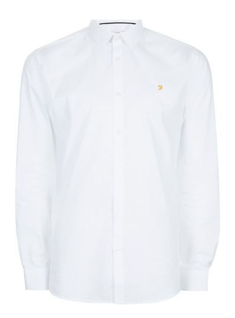 Mens FARAH White Handford Shirt, White
