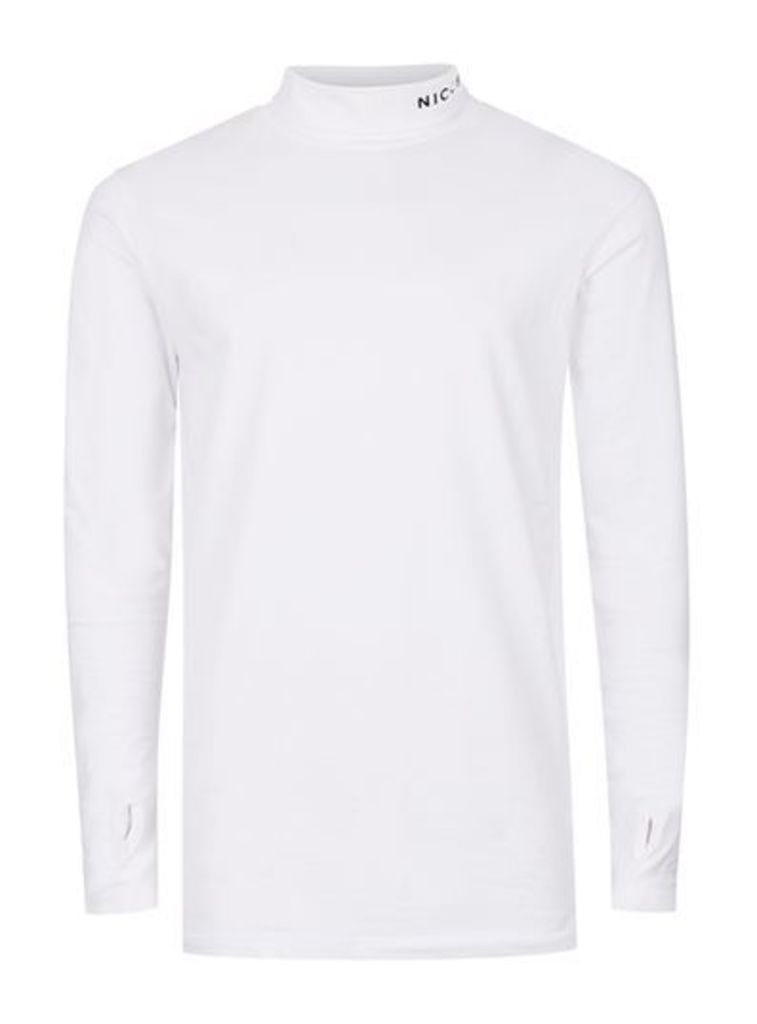 Mens NICCE White Roll Neck Long Sleeve T-Shirt, White