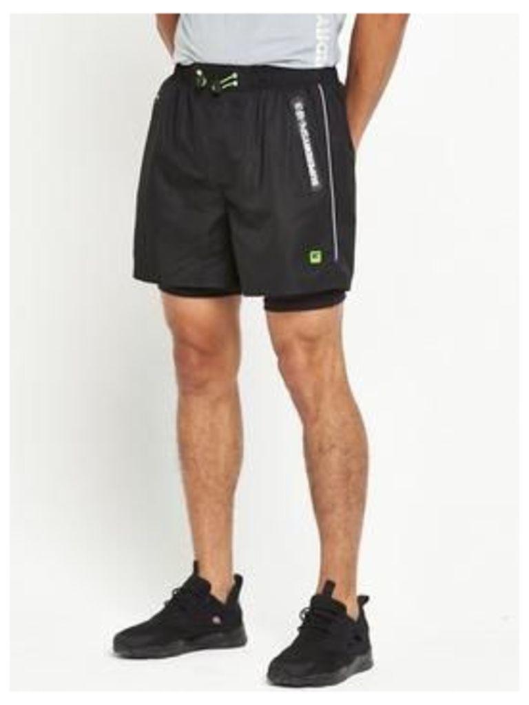 Superdry Sport Active Double Layer Shorts, Black, Size Xs, Men