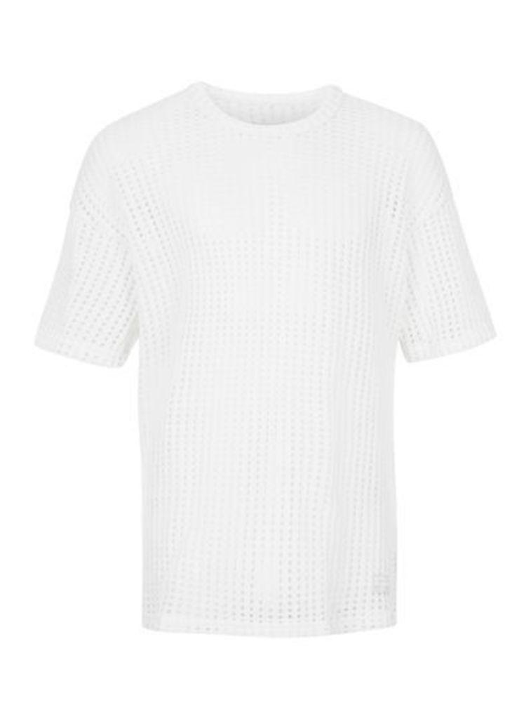 Mens UNDEAD STUDIOS White Military Mesh T-Shirt*, White